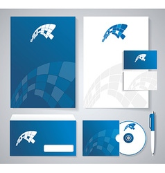 Classic stationery template design Blue corporate vector image vector image