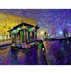 digital painting of night Kyiv city vector image