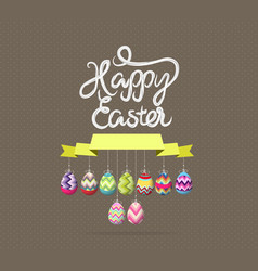 Easter eggs label greeting card vector