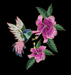 Embroidery hummingbird hibiscus vector