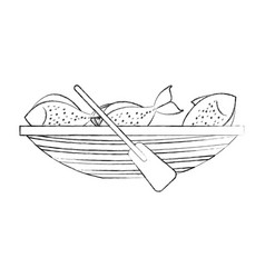 Fishing canoe with fish vector