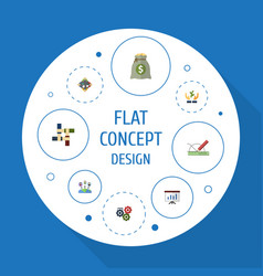flat icons design income discussion and other vector image vector image