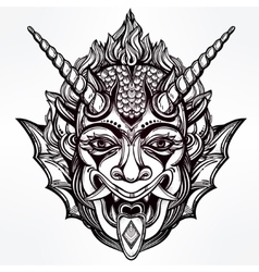 Hand drawn portrait of a horned deamon vector