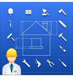 Home construction builder and tools icons vector