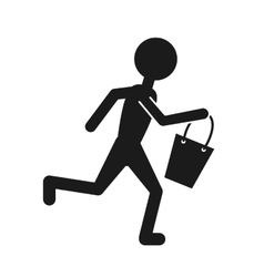 Human figure with shopping basket vector