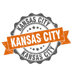 kansas city round ribbon seal vector image