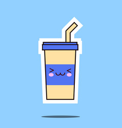 kawaii soda cup icon image vector image