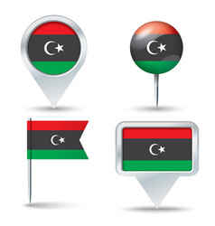 Map pins with flag of Libya vector image