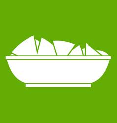 Nachos in bowl icon green vector