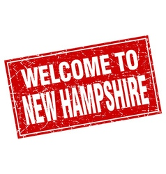 New hampshire red square grunge welcome to stamp vector