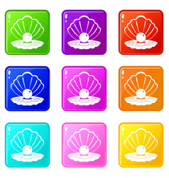 Pearl in a sea shell icons 9 set vector