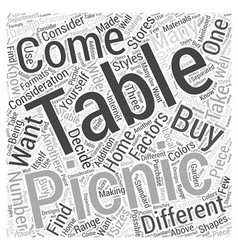 Picnic Tables What to Consider When Buying Them vector image