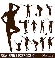 Silhouette people exercise design background vector image vector image