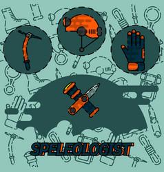 Speleologist flat concept icon vector