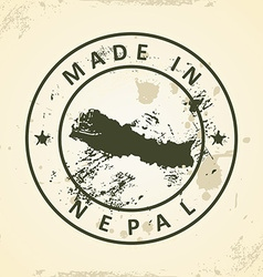 Stamp with map of nepal vector