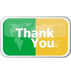 Thank you words on web button icon isolated vector