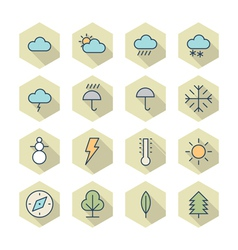 Thin Line Icons For Weather and Nature vector image
