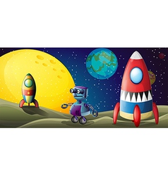 Two spaceships and a purple robot in the vector image