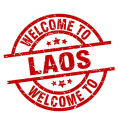 Welcome to laos red stamp vector