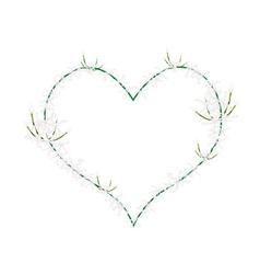 White ixora flowers in heart shape frame vector