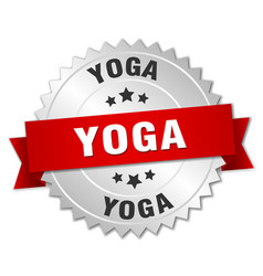 Yoga 3d silver badge with red ribbon vector