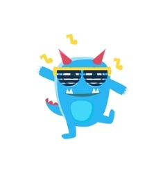 Blue monster with horns and spiky tail dancing in vector