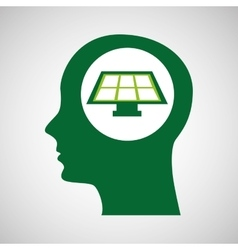 Silhouette green head solar panel vector