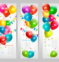 Holiday banners with colorful balloons vector
