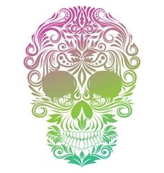 Floral ornament human skull vector