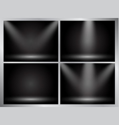 Set of clear empty studio light dark backgrounds vector