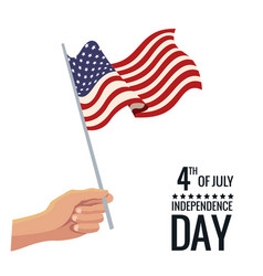 hand holding flag united states independence day vector image