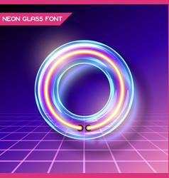 Retro glass neon font vector
