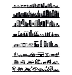 Houses and city icons vector
