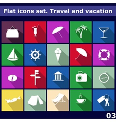 Traveling and vacarion flat icons vector