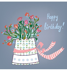 Greeting birthday card with flowers pot vector