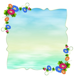 An empty template with blooming flowers vector