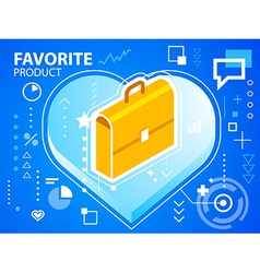 Bright heart and work suitcase on blue backg vector