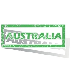 Green outlined australia stamp vector
