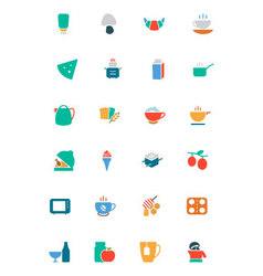 Food and Drinks Colored Icons 9 vector image