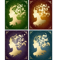 Vintage seasonal womens profiles vector
