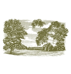 Woodcut missouri landscape vector