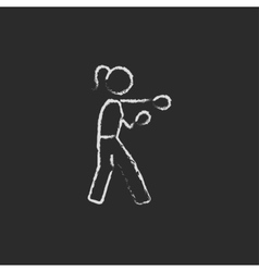 Female boxer icon drawn in chalk vector