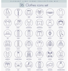 Clothes outline icon set elegant thin line vector