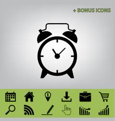 Alarm clock sign black icon at gray vector
