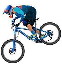 an image of a cyclist descending on a mountain vector image
