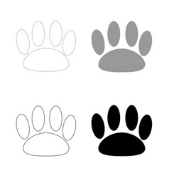 Animal footprint the black and grey color set vector
