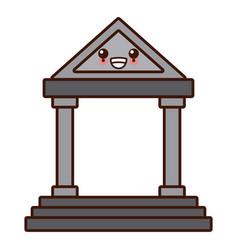Antique greek building cute kawaii cartoon vector