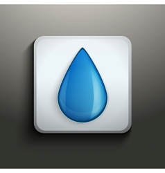 Aqua button with water drop vector