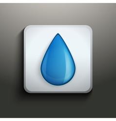 aqua button with water drop vector image vector image
