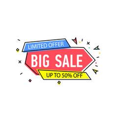 Big sale sticker in trendy linear style vector